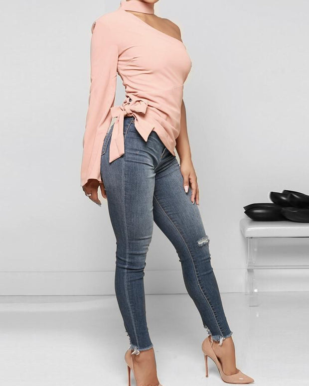 Halter One Shoulder Side Belted Casual Top