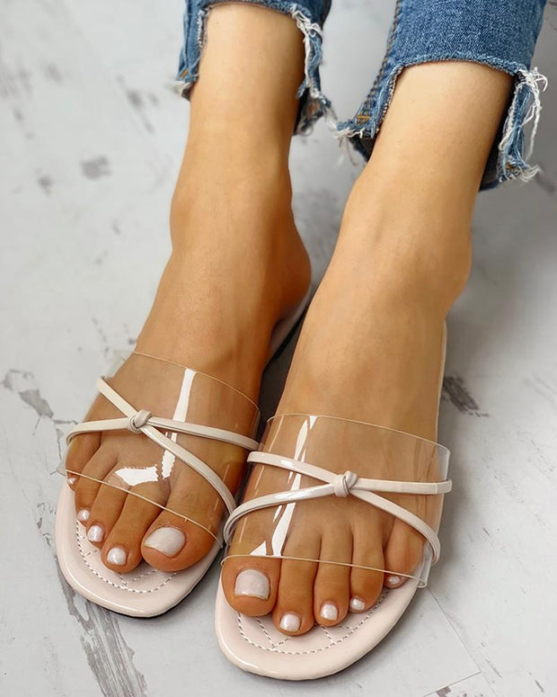 Transparent Bowknot Design Flat Sandals