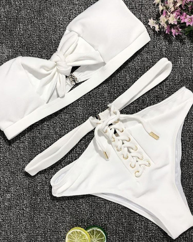 Solid Lace-Up Cut Out Bandage Bikini Sets