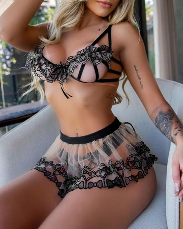 Cutout Lace Sheer Mesh Frill Hem Lingerie Set