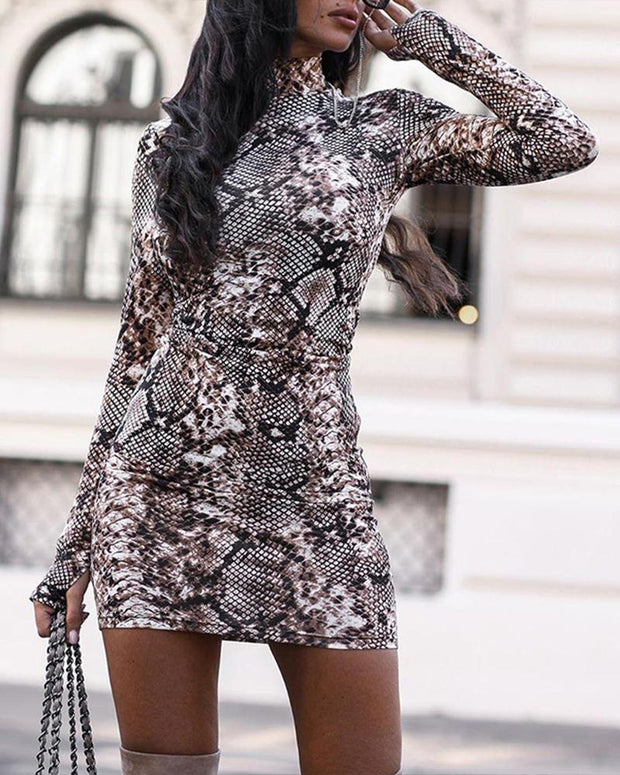 High Neck Bodycon Mini Dress