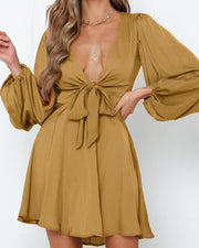 Solid Deep V Tie Waist Dress