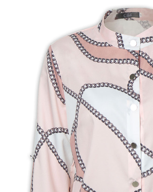 Chain Print Button Through Casual Shirt