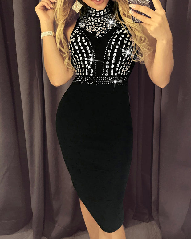 Hot Drilling Mesh Insert Party Dress