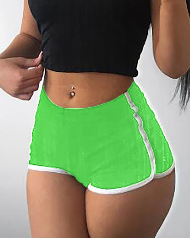 High Waist Contrast Binding Sporty Shorts