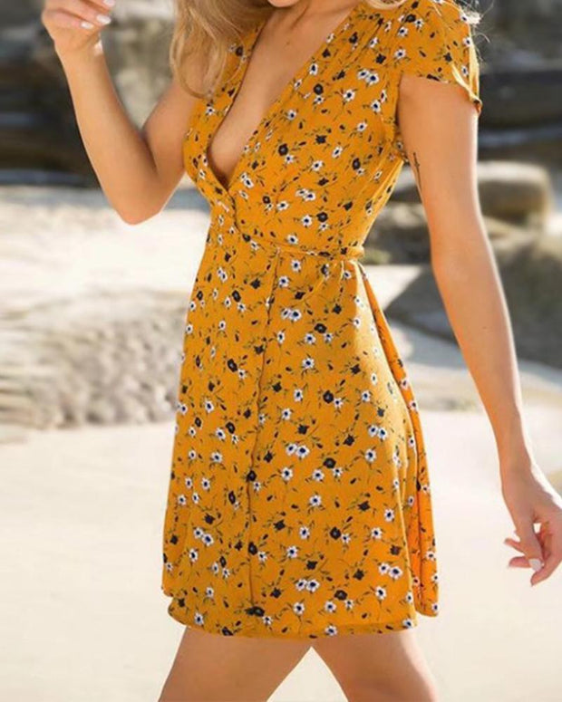Floral V Neck Waist Tie Mini Dress