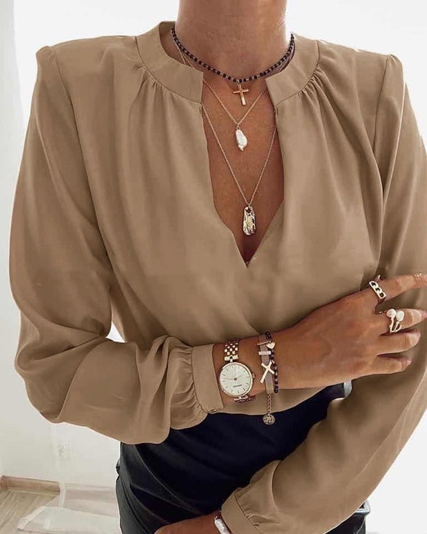 Solid Long Sleeve Loose Splicing Blouse