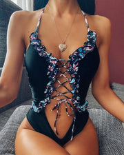 Lace-Up Front One-Piece Swimsuit