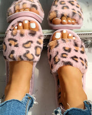 Fluffy Leopard Open Toe Flat Slippers