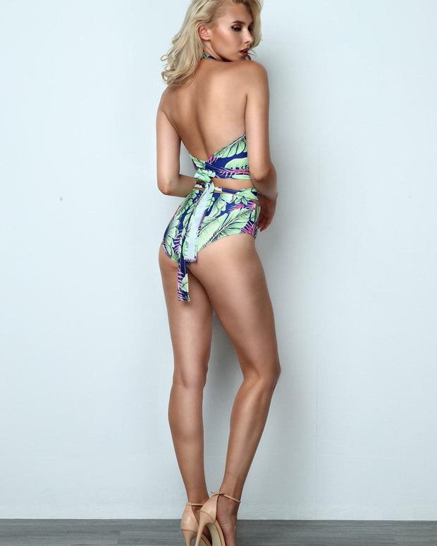 Tropical Print Halter Crisscross Open Back Bikini Set