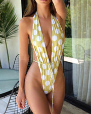 Plunge Neck One-Piece Swimsuit