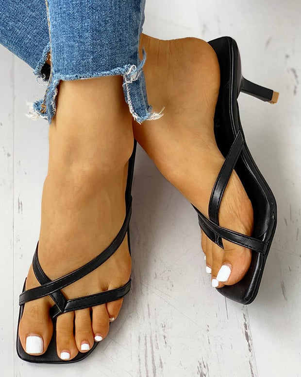 Toe Post Multi-strap Slingback Thin Heeled Slipper Sandals