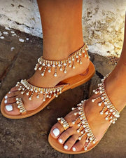 Shiny Embellished Toe Post Flat Sandals