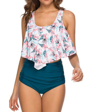 Print Ruffles Top With Ruched Panty Tankini Set