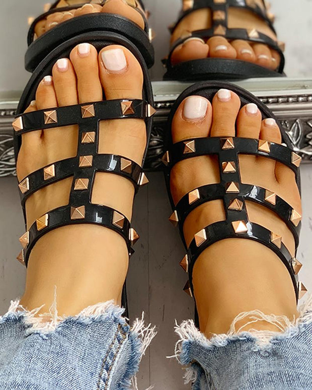 Rivet Design Cut Out Flat Sandals