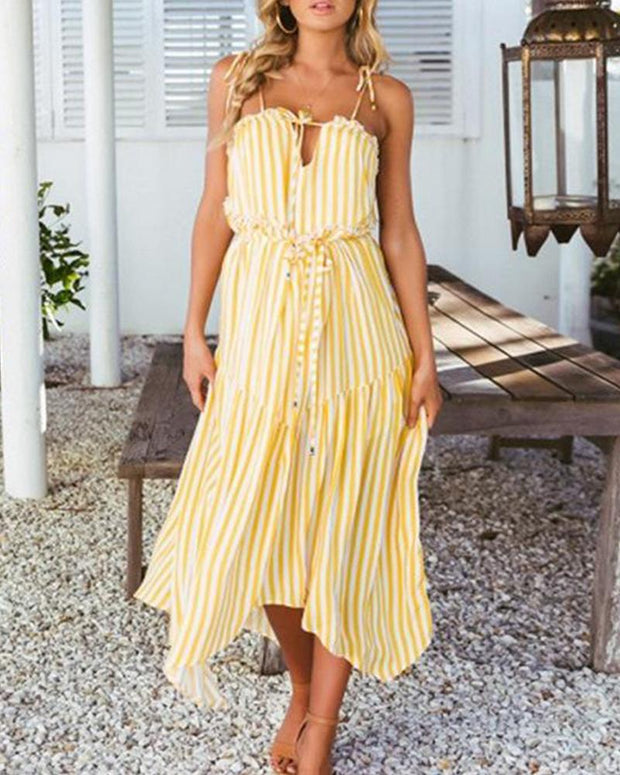 Chiffon Striped Midi Dress