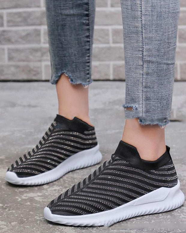 Diamond Sequin Striped Mesh Sneakers