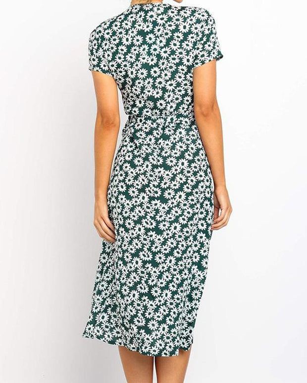 V Neck Floral Short Sleeve Waist Tie Split Midi Chiffon Dress