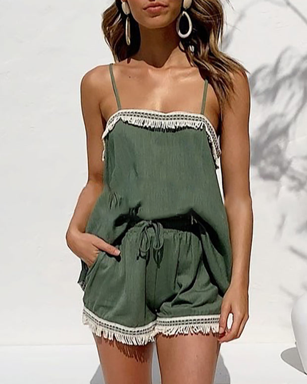 Spaghetti Strap Tassel Design Top & Shorts Set