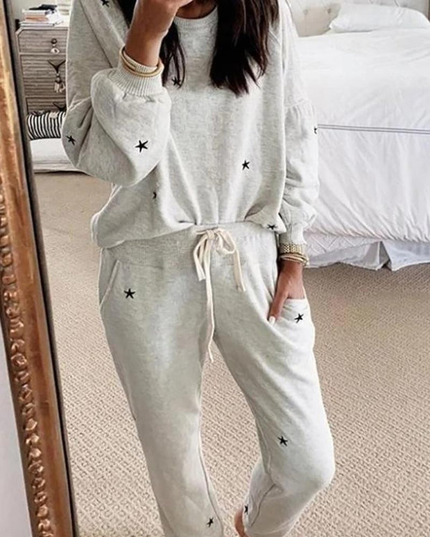 Star Print Long Sleeve Casual Top & Pant Set