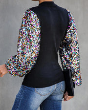 Mock Neck Lantern Sleeve Sequins Colorblock Insert Blouse