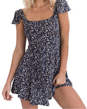 Floral Square Neck Back Open Swing Mini Dress