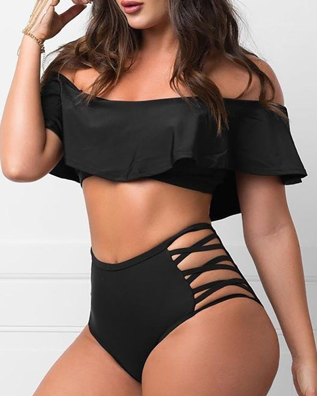 Off Shoulder Ruffles Tankini Set