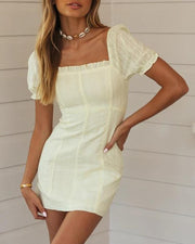 Square Neck Ruffle Trim Mini Dress
