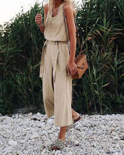 Sleeveless Belt Cotton and Linen Jumpsuit