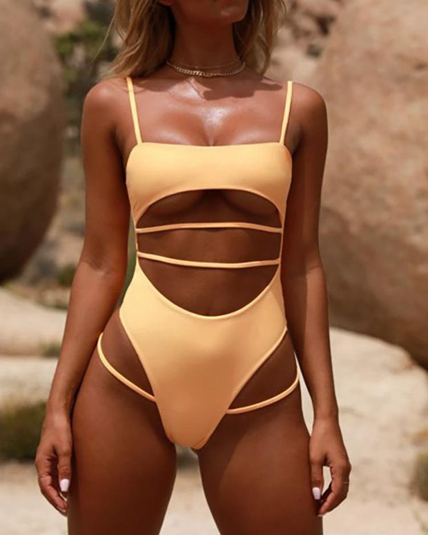 Bandage Cut Out One Piece Swimwear