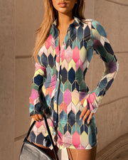 Colorblock Slit Bell Sleeve Shirt Dress
