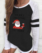 Christmas Long Sleeve Casual Santa Print Sweatshirt