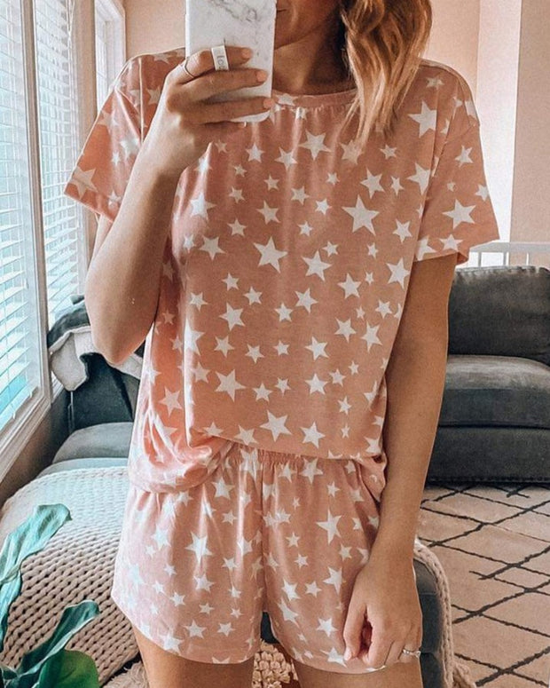 Print Short Sleeve Pajamas Set