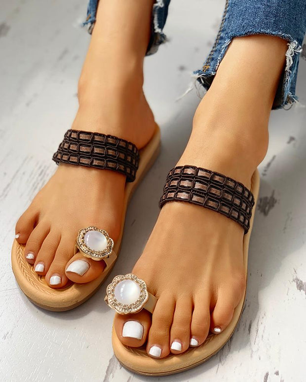 Rhinestone Embellished Toe Ring Casual Sandals