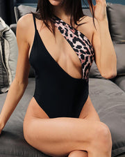 Leopard Print Cut Out One Piece Swimsuit