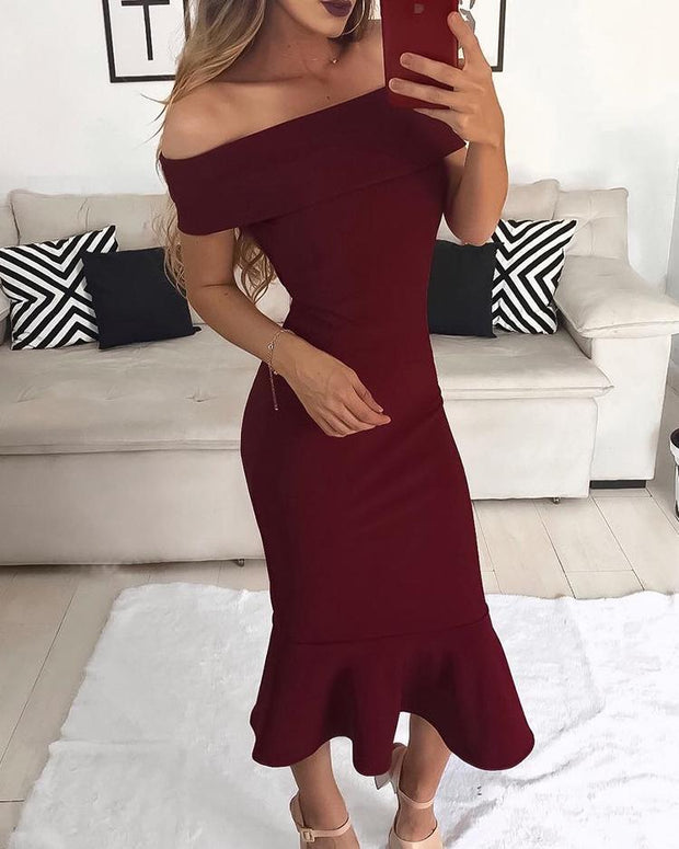 Fold Over Off Shoulder Fishtail Party Dress