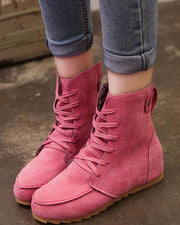 Solid High Top Lace-Up Boots