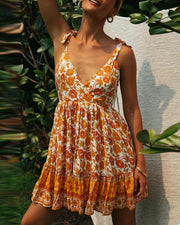Bohemian Tie Strap Mini Dress