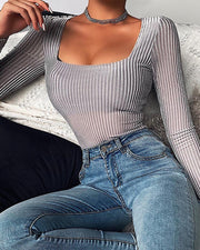 Solid Ribbed Long Sleeve Bodysuit