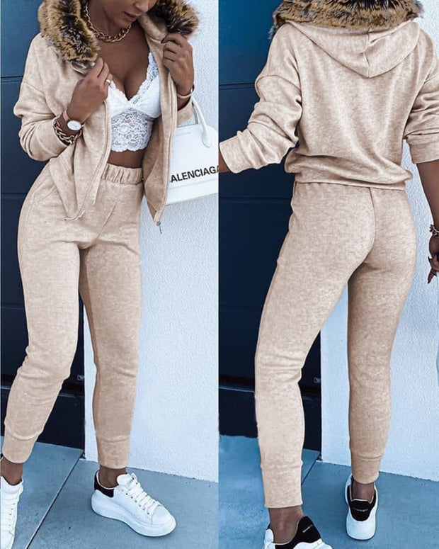 Zip Fluffy Hooded Top & Pocket Design Pants Set