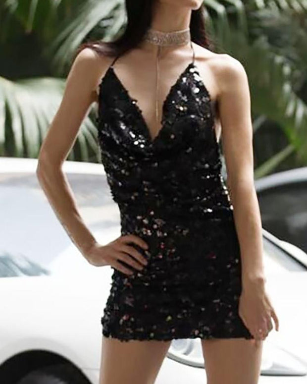 Glittering Sequins Halter Open Back Ruched Mini Dress