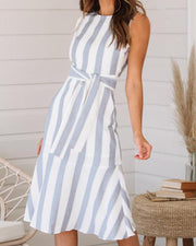 Striped Zip Back Midi Dress