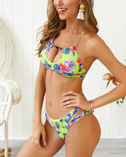 Tropical Print Cutout Halter Bikini Set