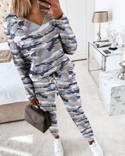 Camouflage Print Long Sleeve Top & Drawstring Waist Pants Set