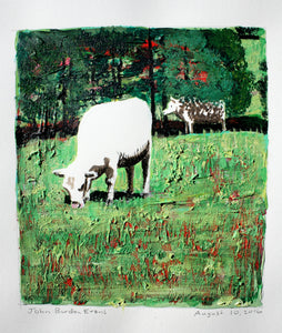 Two Charolais Cows - 9x8in