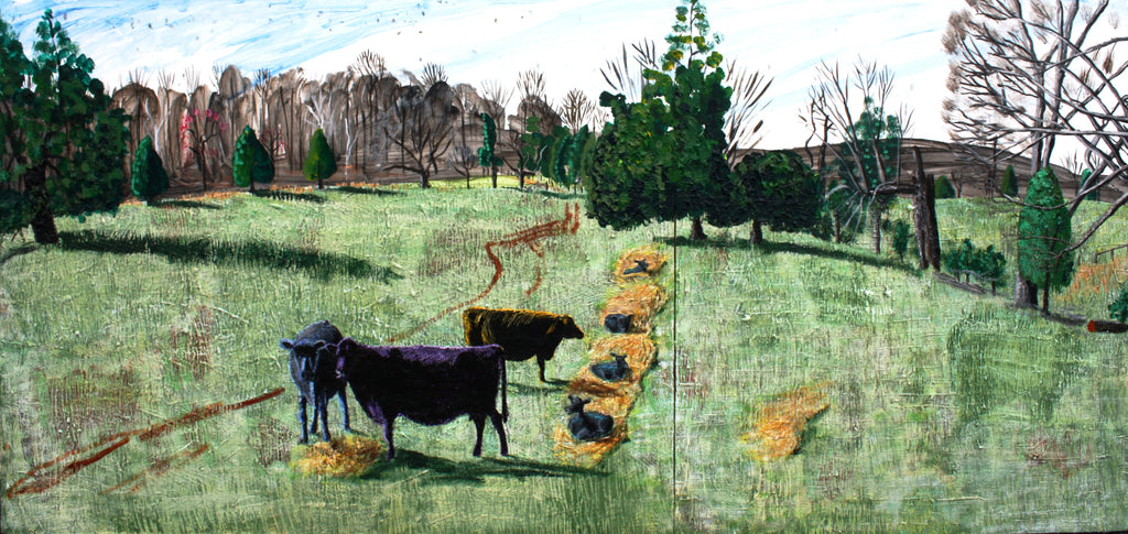 Cows and Calves Diptych - 32.5x68in