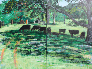 Cows in shade Diptych - 32x42.5in