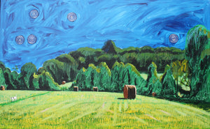 Moses' Night Walk with Hay Bales - 36.5x58.5in