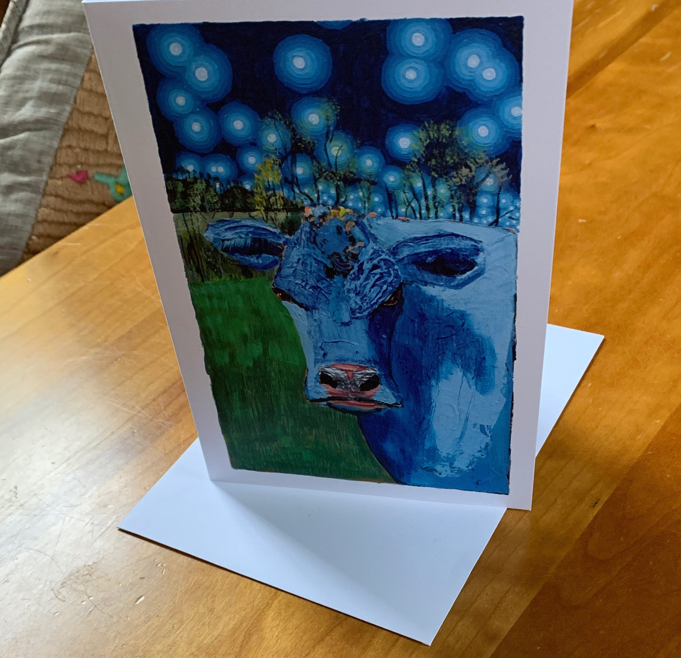 Blue Cow at Night Greeting Card