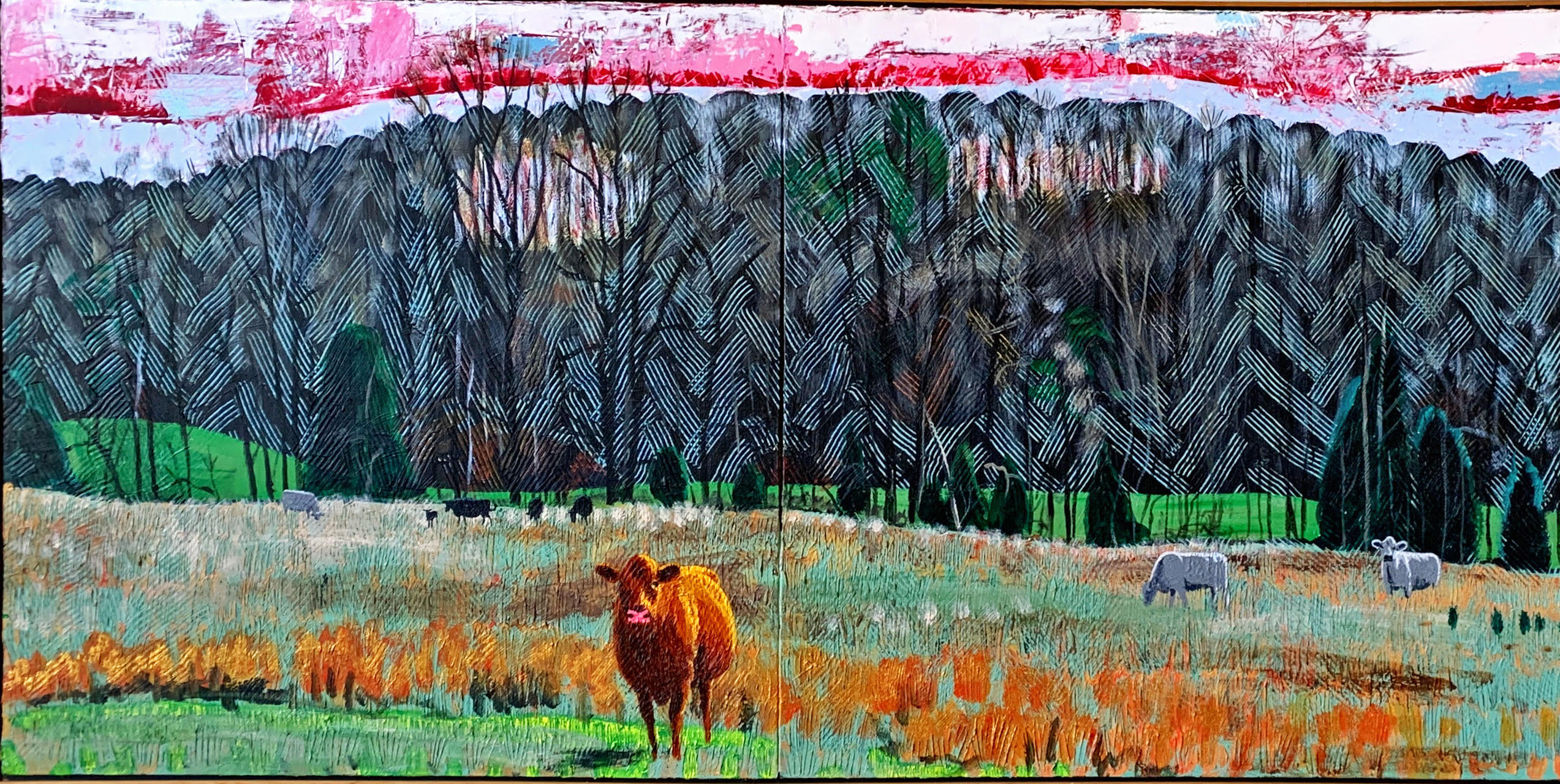 Cows in Hayfield Diptych II